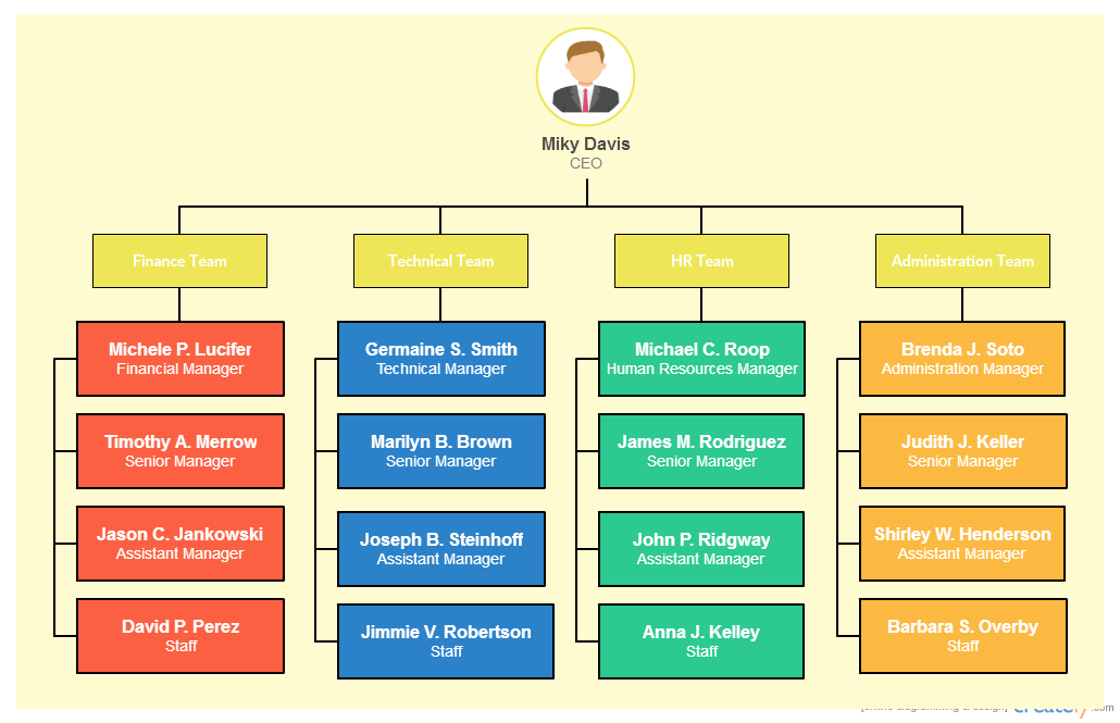 types of organizational charts for different scenarios